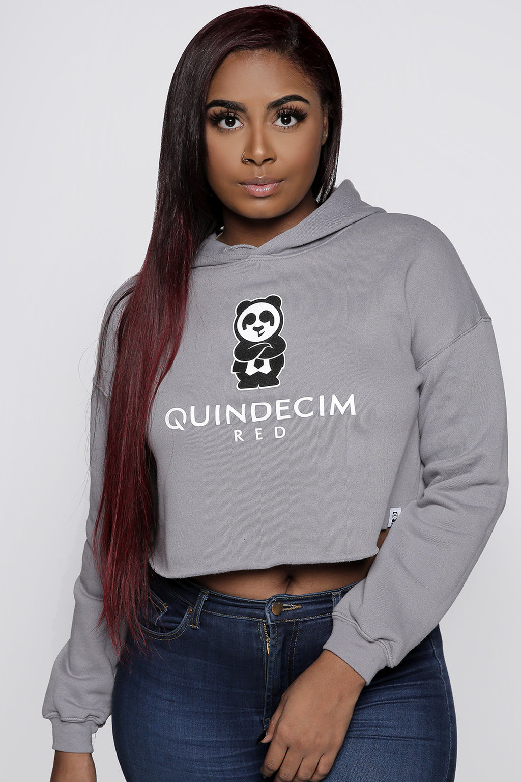 Women's Crop Hood (Grey) - Quindecim Red