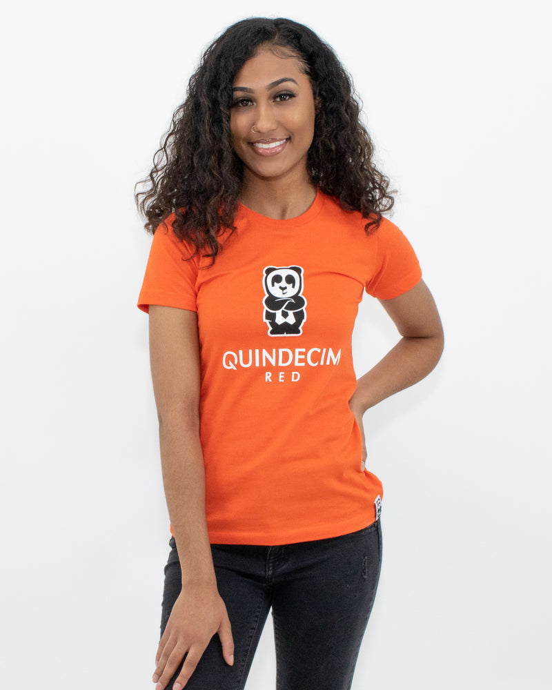 Women's Short Sleeve Panda (Orange)