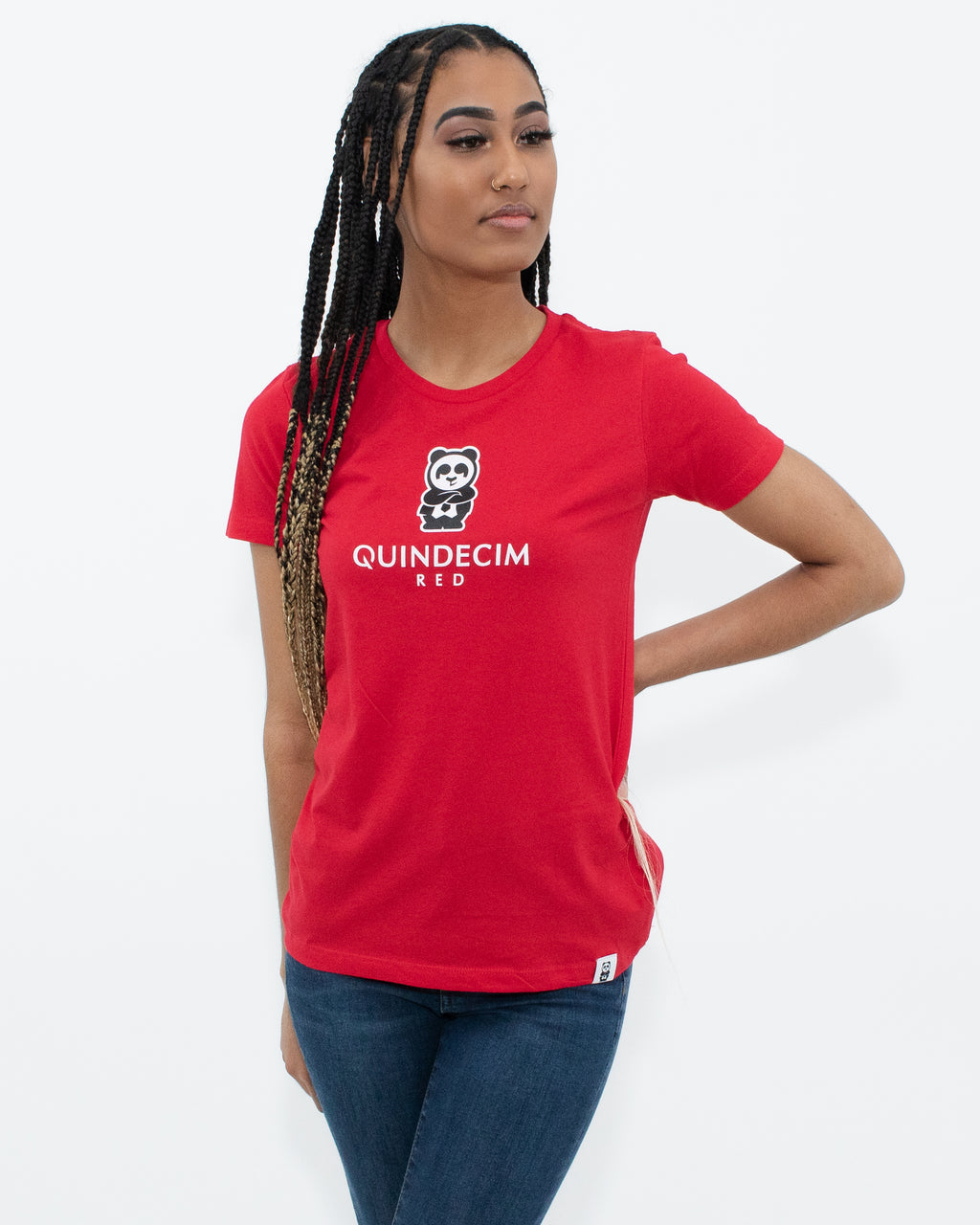 Women's Short Sleeve Panda (Red)