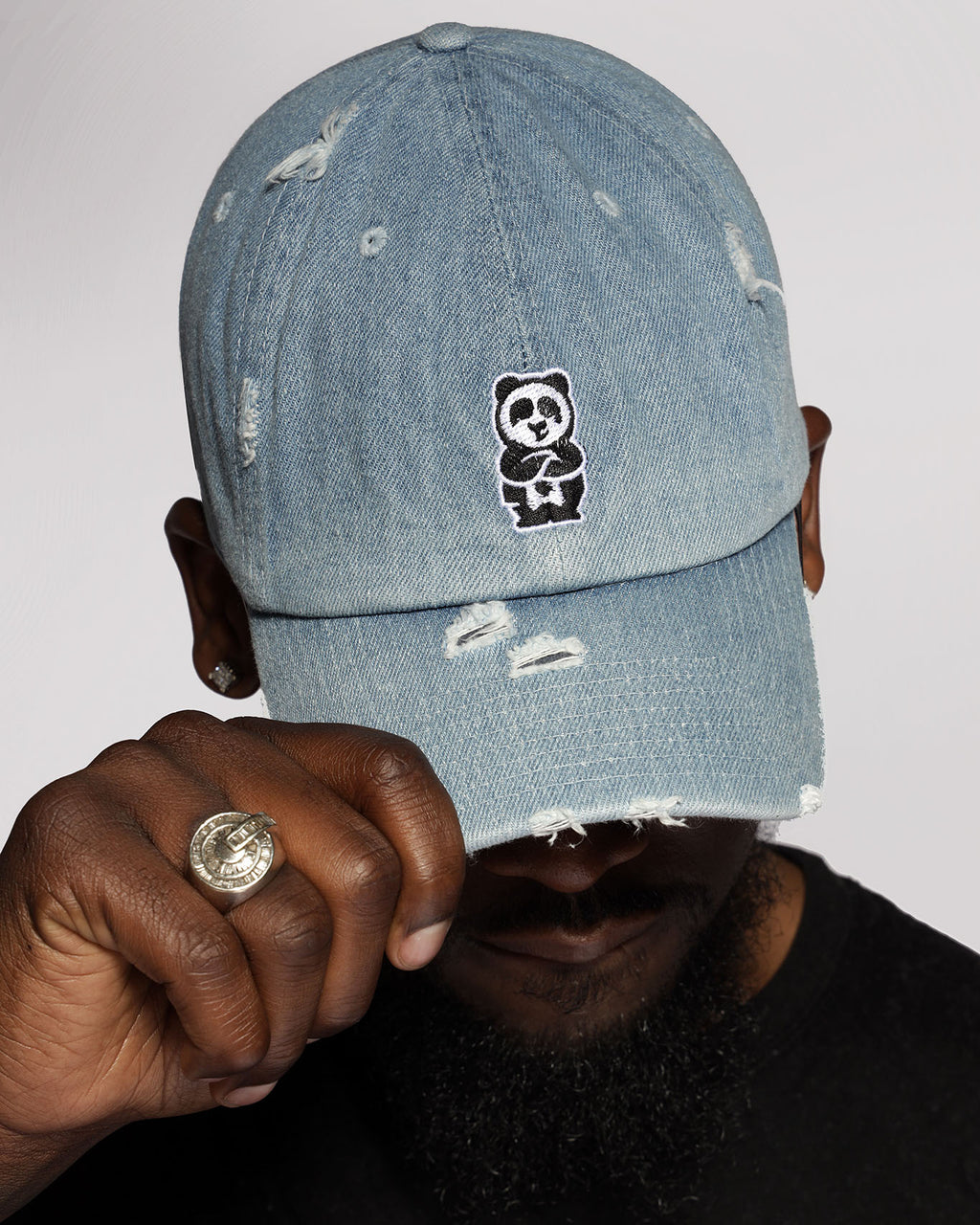 Father Cap (Distressed Light Denim)
