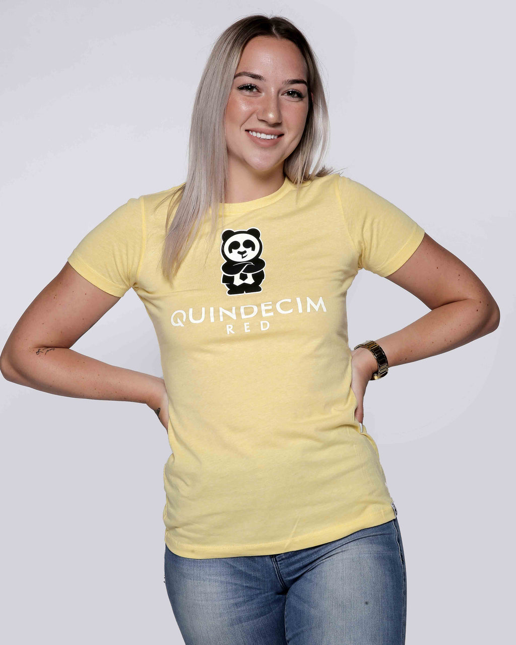 Women's Short Sleeve Panda (Yellow)