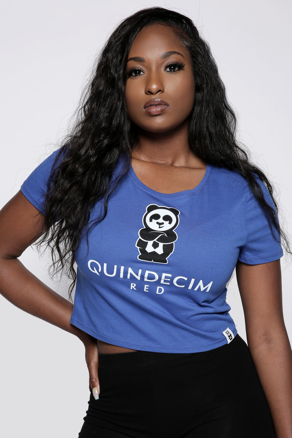 Women's Fitted Crop Tee (Royal) - Quindecim Red
