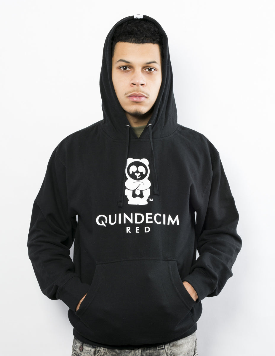 Men's Signature Pullover Hood (Black) - Quindecim Red