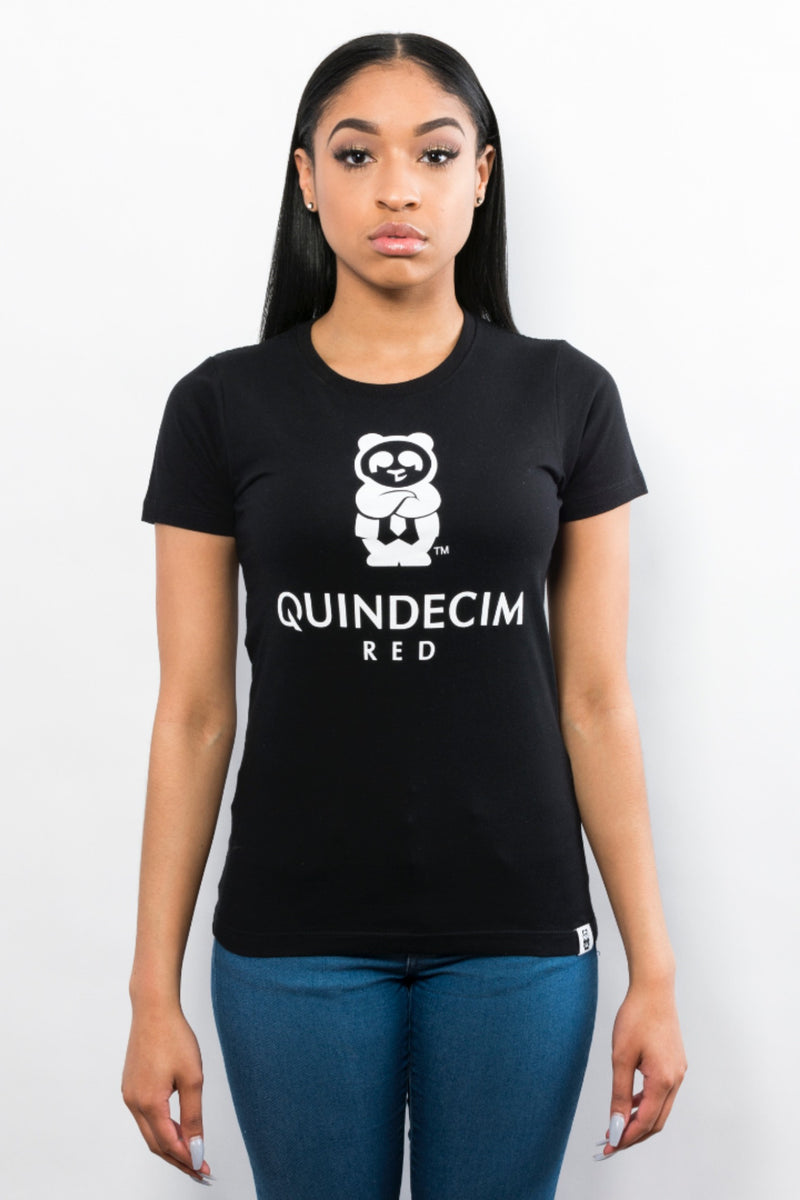 Women's Signature Tee (Black) - Quindecim Red