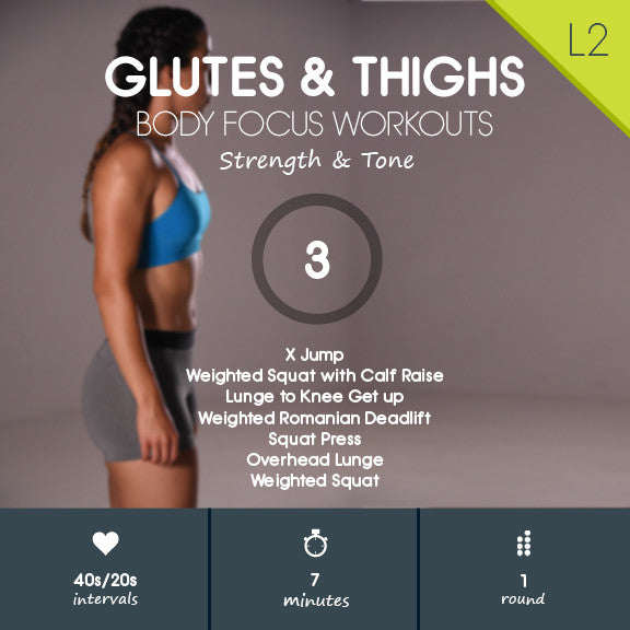 Glutes & Thighs 03 - Butt & Thigh Toning HIIT Workout - 7 minute - Level 2 - 40s/20s