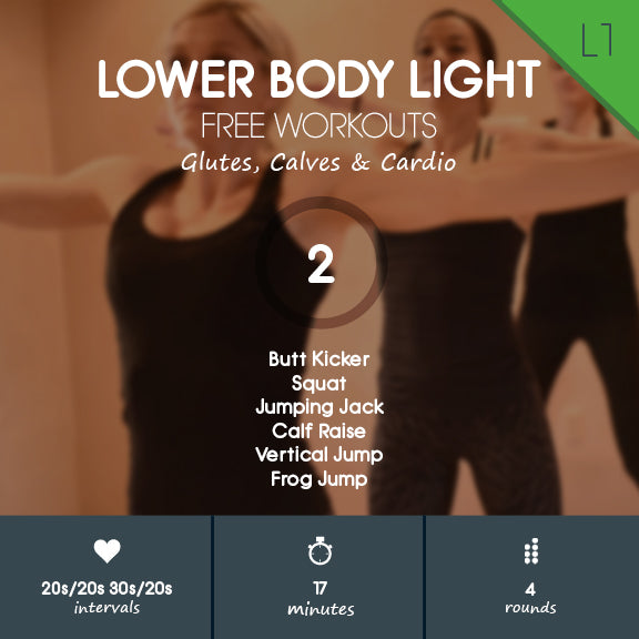 Lower Body Light 02 - Beginner Glutes, Calves & Cardio Workout