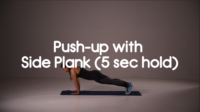push-up with side plank hiit exercise