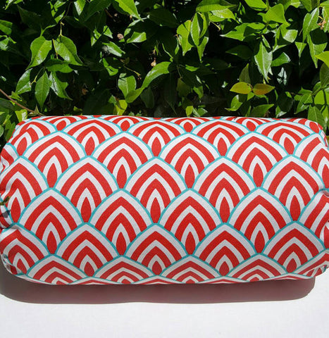 Marvelous Beautiful Indoor Outdoor Bolster Pillow Cover Lalo Calypso Red Aqua Blue  With Zipper