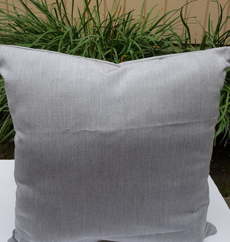Sunbrella Granite Solid Grey Indoor Outdoor Pillow Lumbar Bolster