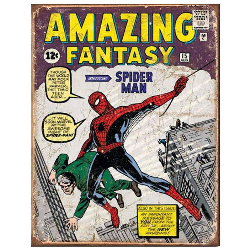 Marvel - Poster Metálico - Amazing  Fantasy #15: Spider-Man