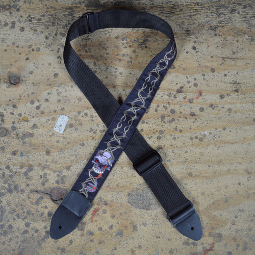 Colonial Leather Skull and Eyes Rag Guitar Strap