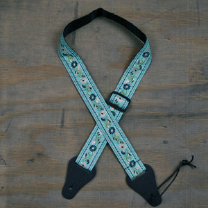 Colonial Leather Ukulele Strap - Aqua Flower