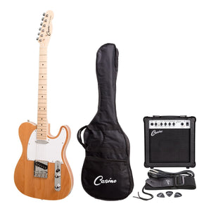 Casino TL Style Electric Guitar Set and 15 Watt Amplifier Pack - Natural Gloss