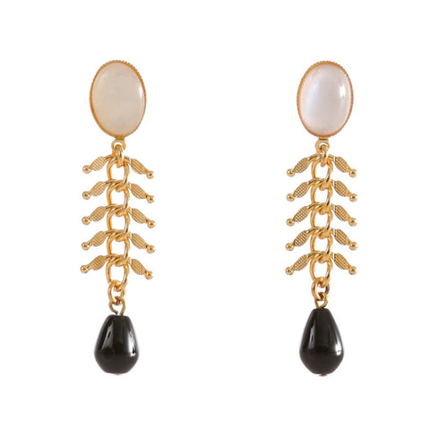 CANDICE  Earring Gold-Plated  Pearl and Black Agate