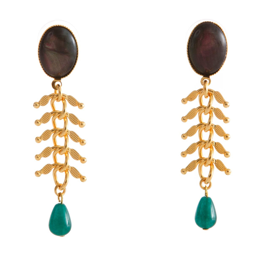 CANDICE Earring Gold-Plated  Black and Green Agate