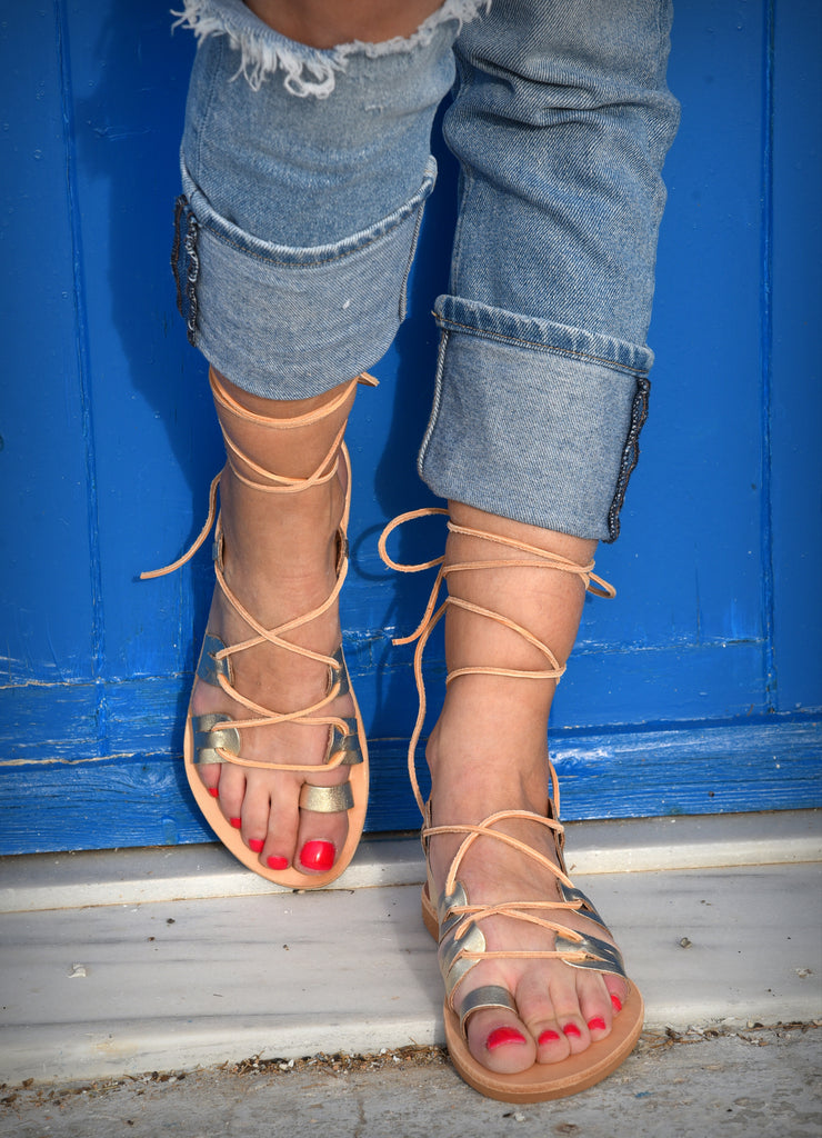 Gold tie up flats