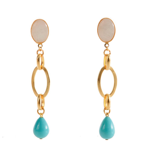 EVA Earring  Gold-Plated Pearl and  Turquoise