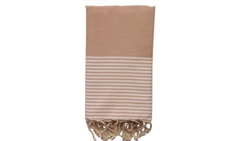 Fouta Honeycomb –  Toasted almond & white stripes - art of shop