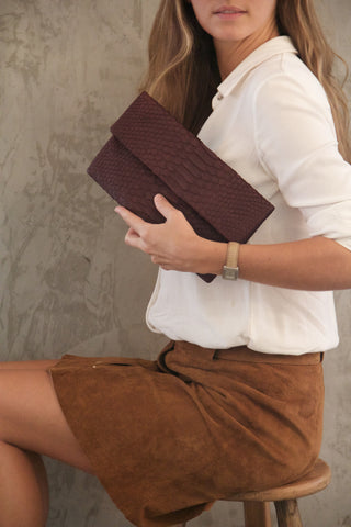 Brown Leon Python Mini Clutch - art of shop  - 1