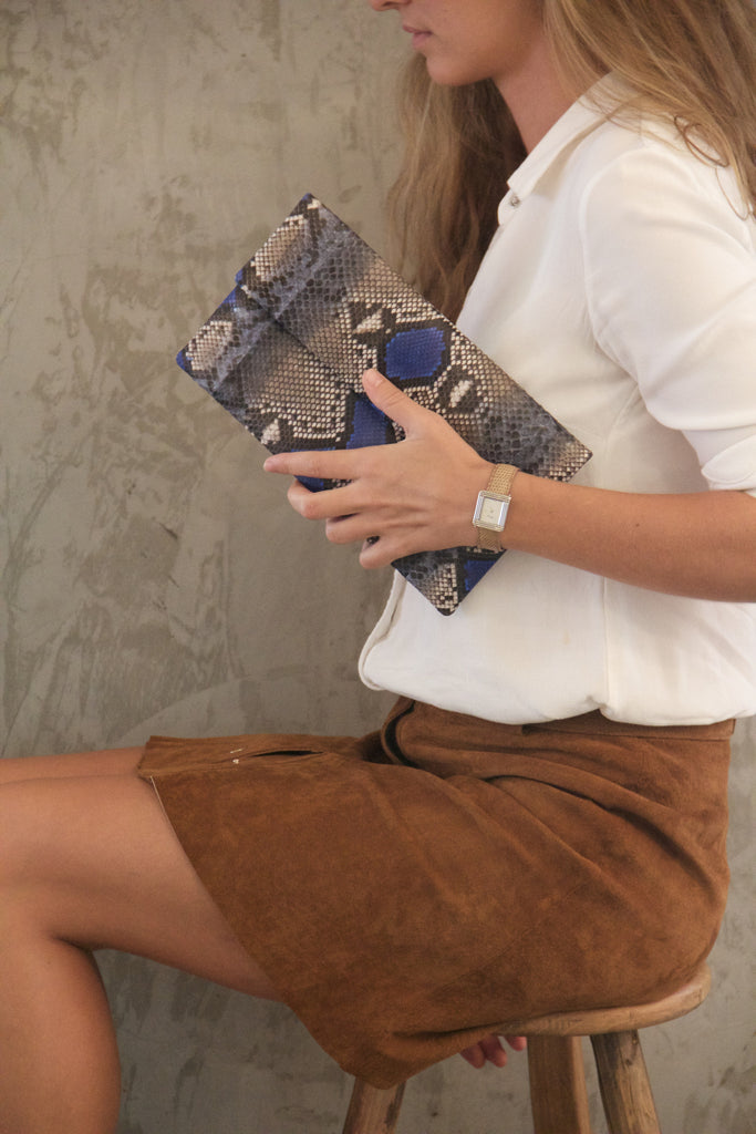 Blue Motif Leon Python Mini Clutch - art of shop  - 1