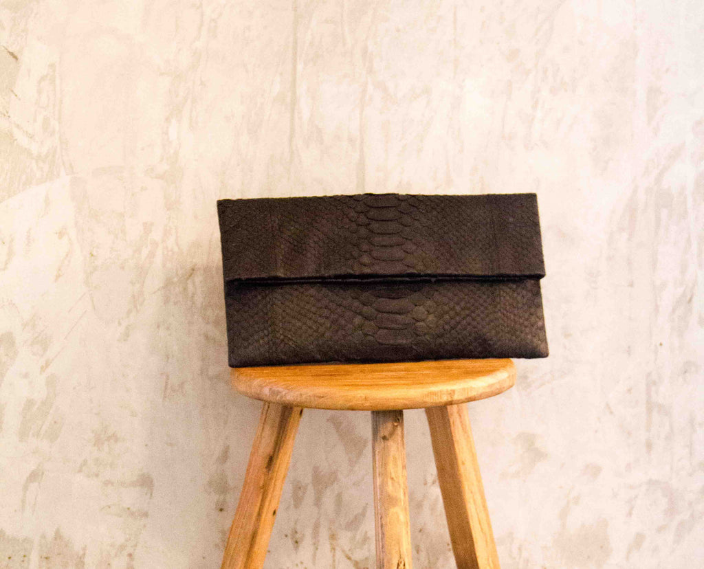 Black Leon Python Small Clutch - art of shop  - 1