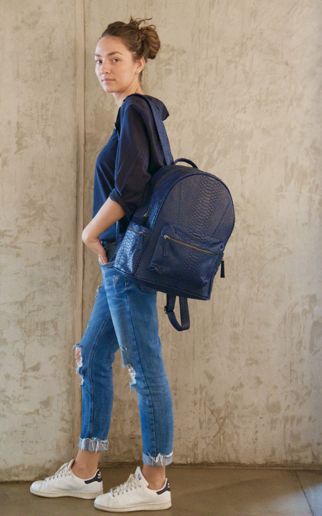 Navy Blue Bernard Python Backpack - art of shop  - 3