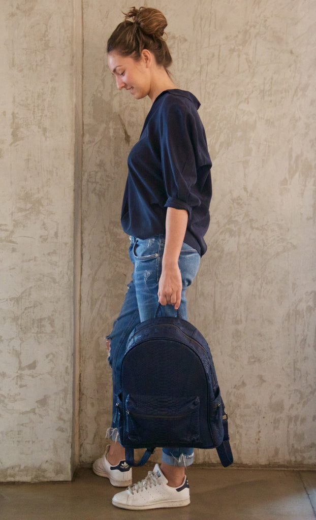 Navy Blue Bernard Python Backpack - art of shop  - 5