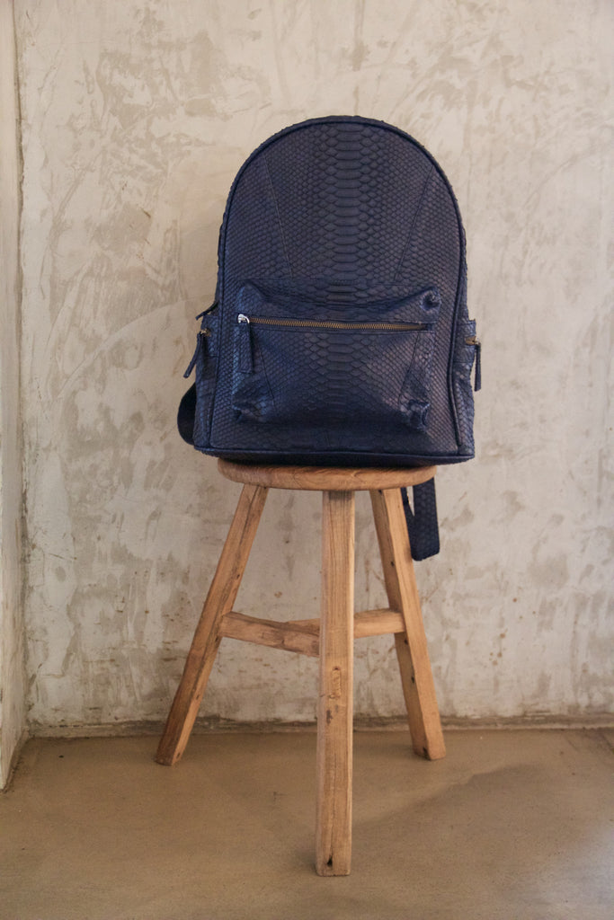 Navy Blue Bernard Python Backpack - art of shop  - 1