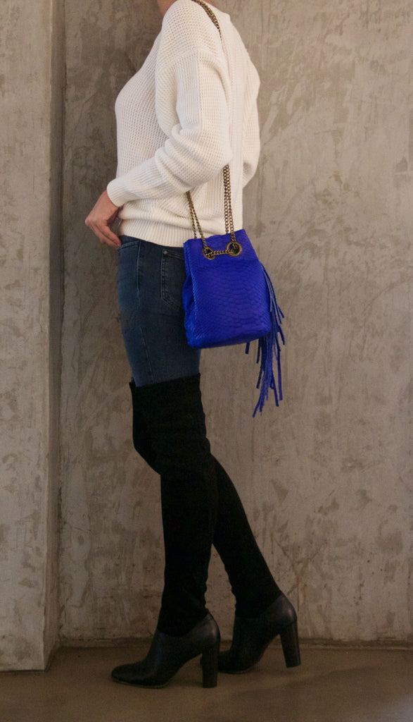 Electric Blue Paul Python Fringed Bucket Bag - art of shop  - 3