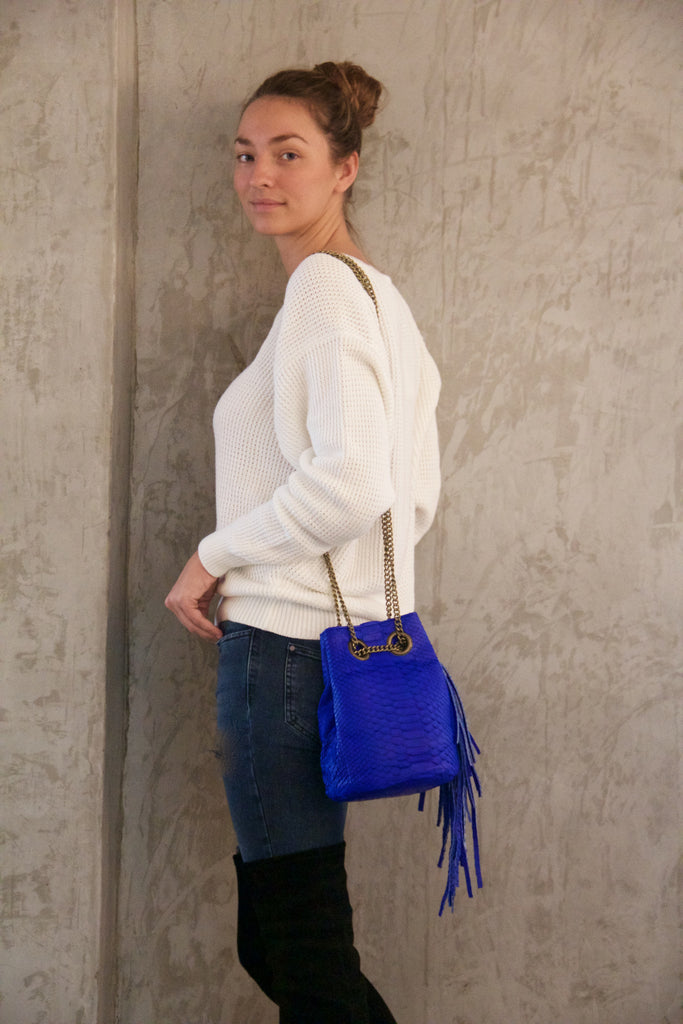 Electric Blue Paul Python Fringed Bucket Bag - art of shop  - 4