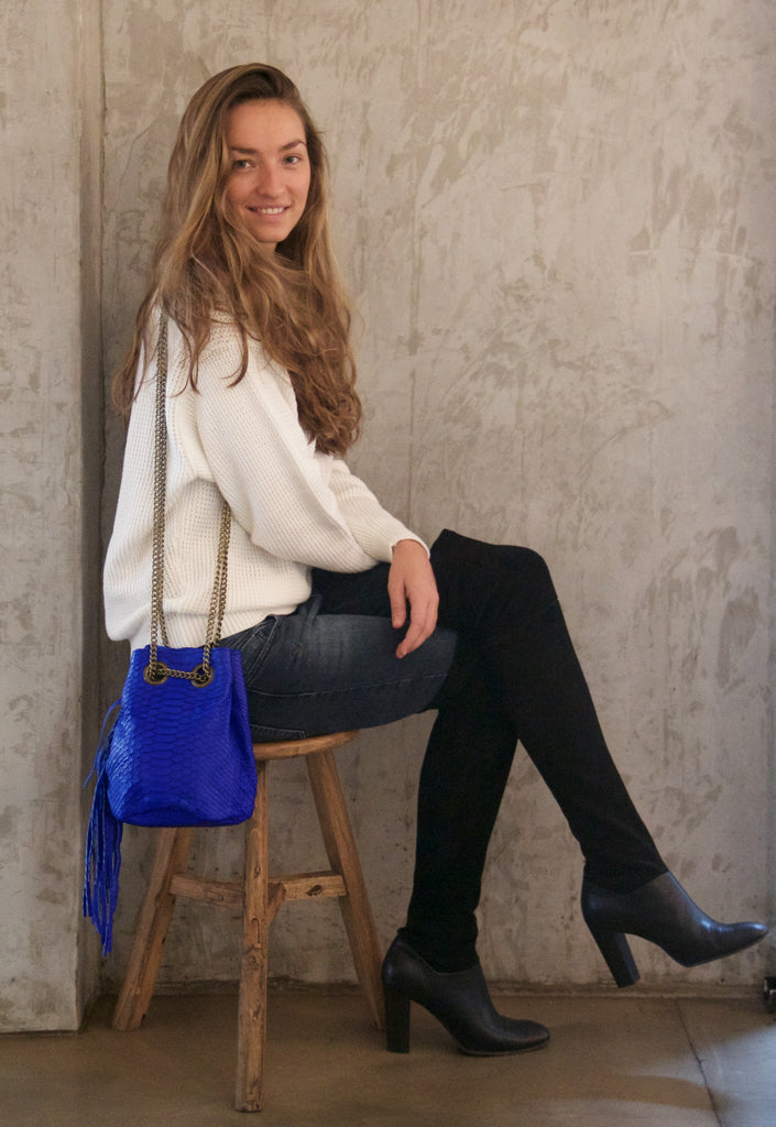 Electric Blue Paul Python Fringed Bucket Bag - art of shop  - 2