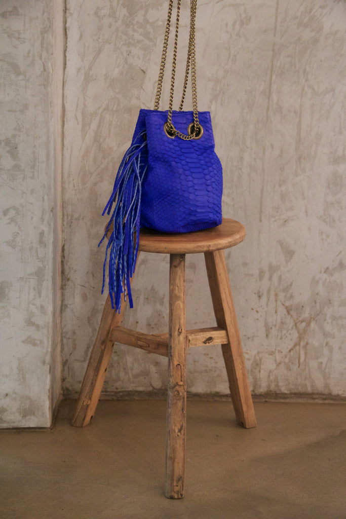 Electric Blue Paul Python Fringed Bucket Bag - art of shop  - 1