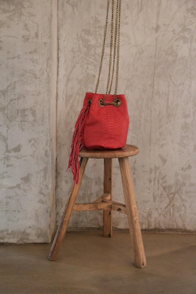 Red Paul Python Fringed Bucket Bag - art of shop  - 1