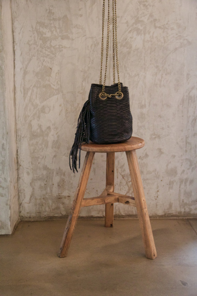 Black Paul Python Fringed Bucket Bag - art of shop  - 1