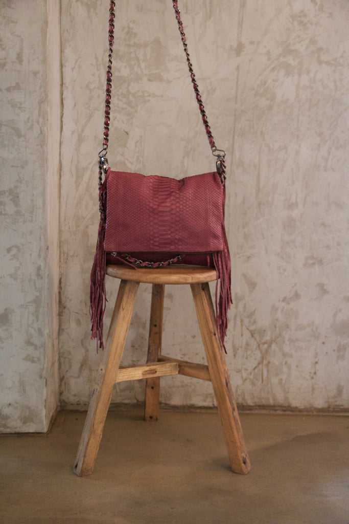 Burgundy George Python Fringed Gun Chains Bag - art of shop  - 1