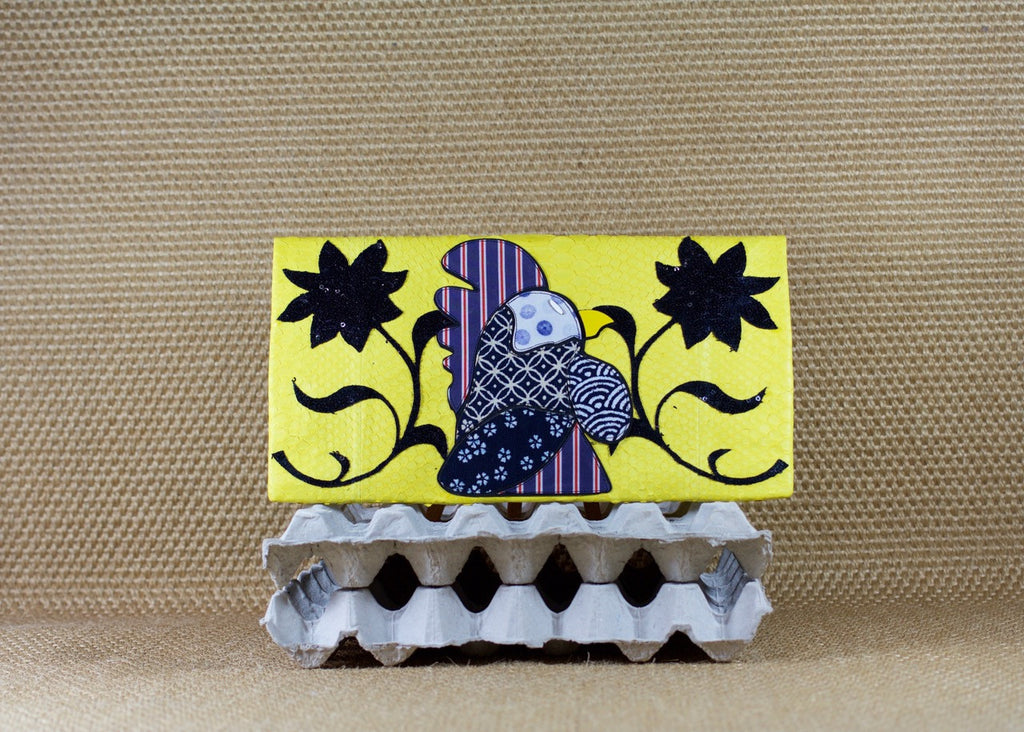 Yellow Rooster Large Clutch customized by Fedri - art of shop  - 1