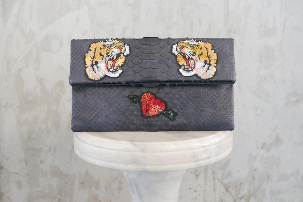 Navy  Motif Leon Small Patched Clutch customized by Suzette Creative Team