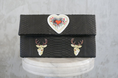 Black Heart Leon Small Patched Clutch customized by Suzette Creative Team