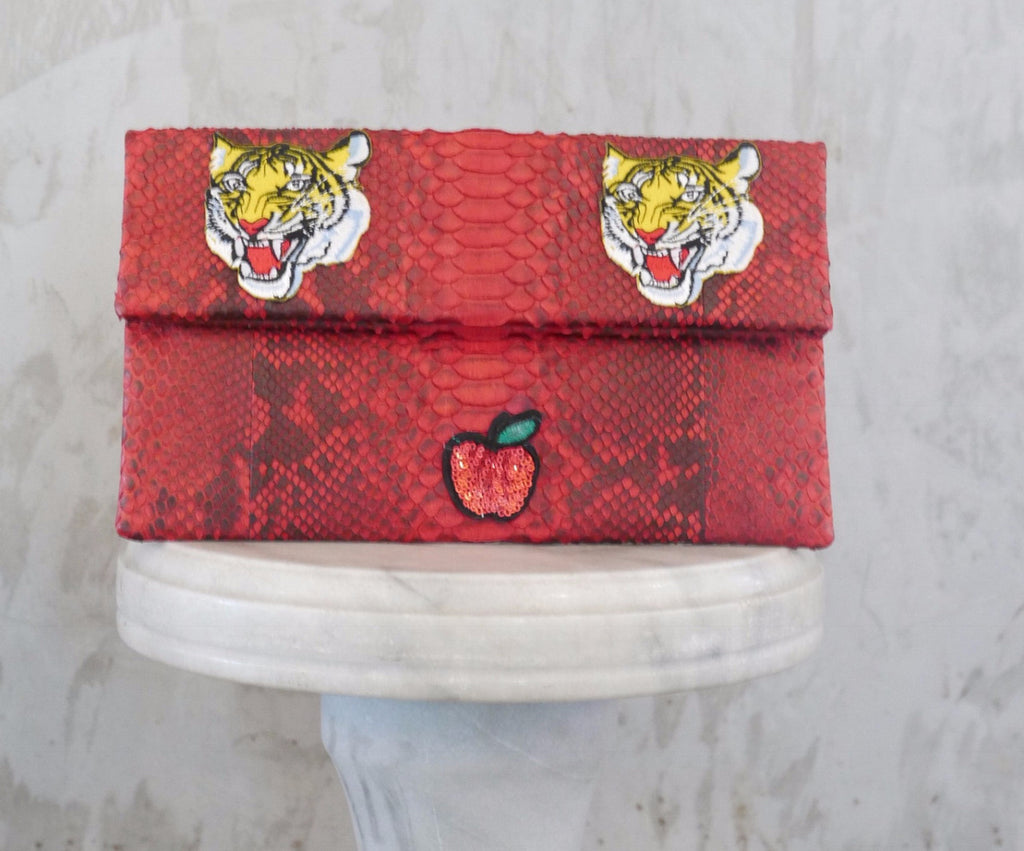 Red Tiger Leon Small Patched Clutch customized by Suzette Creative Team