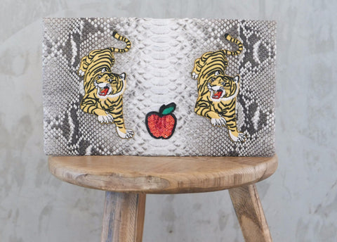 Natural Tiger Leon Small Patched Clutch customized by Suzette Creative Team