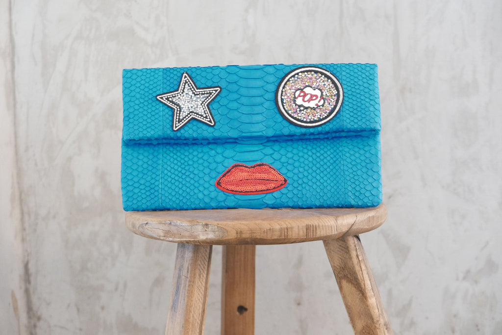 Turquoise Leon Small Patched Clutch customized by Suzette Creative Team