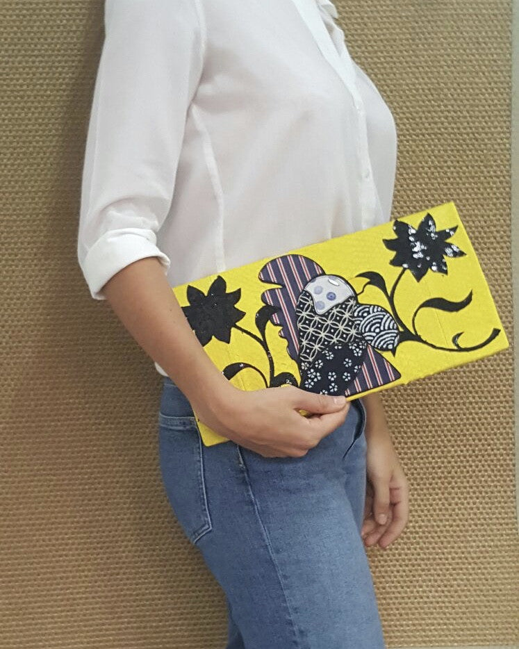 Yellow Rooster Large Clutch customized by Fedri - art of shop  - 2