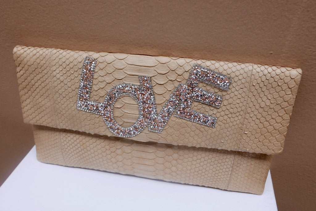 Beige Love Henri Python Large Clutch customized by Fedri - art of shop  - 2