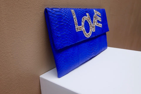 Blue Love Henri Python Large Clutch customized by Fedri - art of shop  - 3