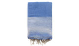 Fouta Honeycomb Lurex – Blue & silver stripes - art of shop  - 2