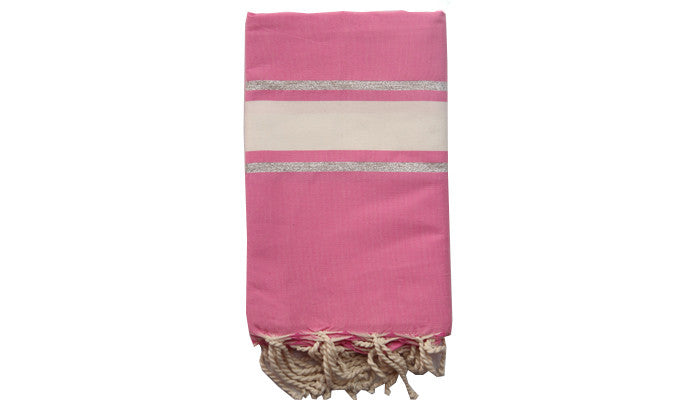 Fouta Lurex – Pink & 2 silver lines - art of shop