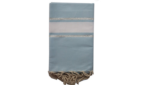 Fouta Lurex – Dusk blue & 2 silver lines - art of shop