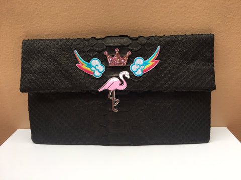 Black Flamingo Leon Python Mini Clutch customized by Fedri - art of shop  - 1