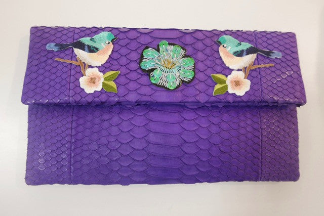 Purple Leon Small Patched Clutch customized by Suzette Creative Team