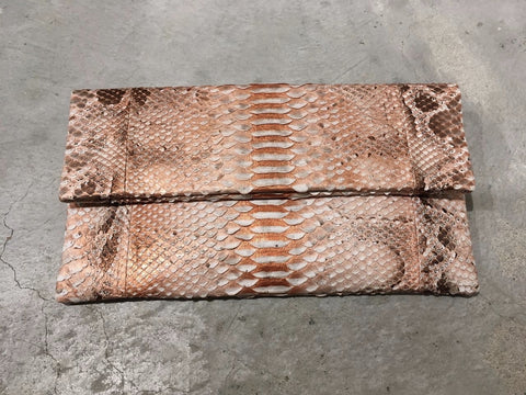 Henri Large Python Clutch Orange Gold